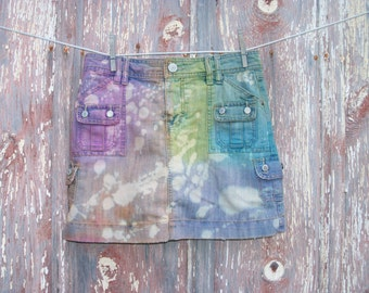 Size 4 Rainbow Dyed and Bleached DIY Jean Skort Misses OOAK