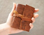 Pocket - Brandy Leather Journal or Sketchbook - Personalized with Initial