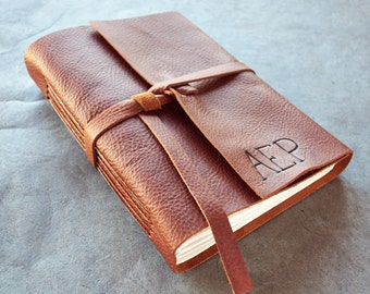 200 Page 6x8 Leather Journal or Sketchbook - Initials - Brandy