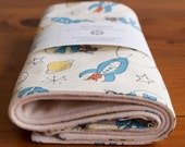 Space, Robots Burp Cloths, Set of 2 Baby Burp Pads in ROCKETS AWAY; Two Robots, Spaceships Baby Burp Cloths Gift Set, Modern Baby Gift Boys