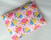 The Perfect Toddler Pillow ... Original Design by Sew Cinnamon ... Disney Princesses on Pink Polka Dot Smooth Cotton Aurora, Snow White more