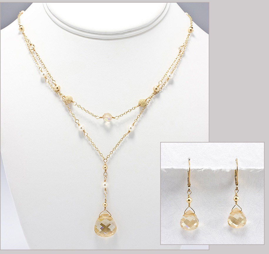 Champagne bridal jewelry set wedding jewelry set gold for Jewelry for champagne wedding dress