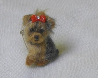 Felt Miniature Custom Yorkie Pin  / Needle Felted Portrait of Your Pets / Personalized just you