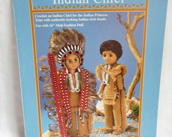 Indian Chief Crochet Pattern, 16 inch Doll, Fibre Craft, Chiefs Headdress, Indian Pants, Indian Moccasins, Vest,Battle Standard Breast Plate