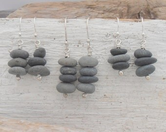 Teeny tiny rock stack earrings - real stones cairn sculptures