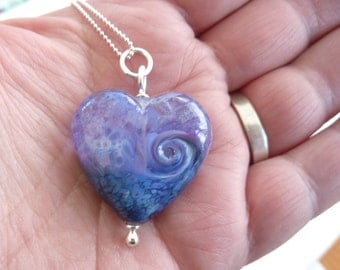 Just So Purple heart pendant ... handmade glass bead and silver by Lush Lampwork .. UK SRA British Lampwork