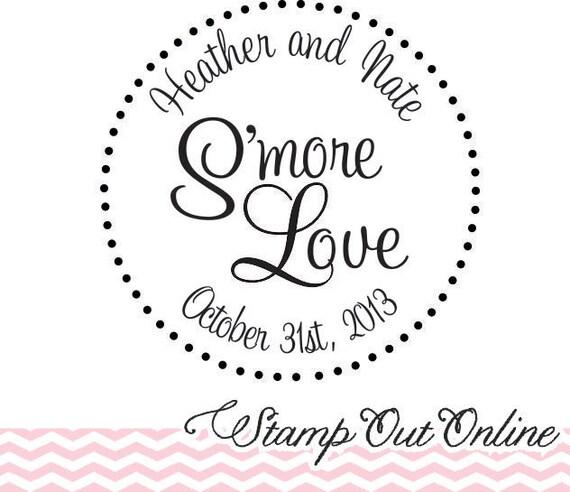 Smore love custom rubber stamp for wedding favors --5518
