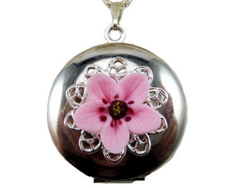 Cherry Blossom Locket Necklace - Cherry Blossom Jewelry, Sakura Jewelry