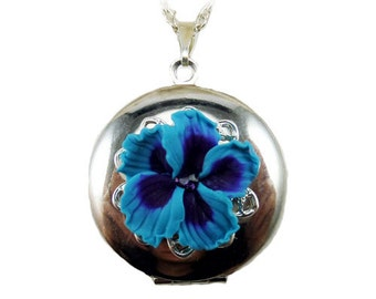 Hibiscus Locket Necklace -  Hibiscus Jewelry