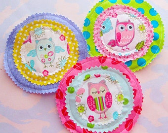 Cute Owl Sewn Fabric Embellishments Set of Three