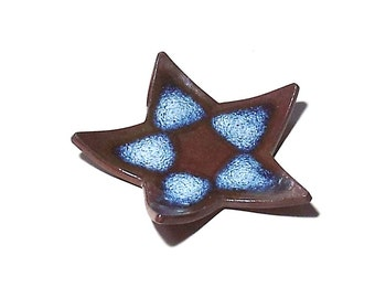 Star Candle Holder Ceramic Ring Dish Small Spoon Rest Shallow Star Plate Ring Catcher Shower Party Favor Brown Frosted Blue Home Decor OOAK