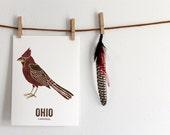 Ohio Art, State Bird print, Map Art, Wedding gift, Nursery art, Home decor, Nature art, Vintage Map art, couples gift - Northern Cardinal