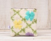 Recycled Wool Pouch in Pink  Yellow Purple and Green Pastel Flowers