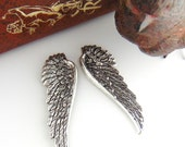 ANTIQUE SILVER * 1 Pair) Angel Wings Stampings - Jewelry Ornament Findings (C-702)