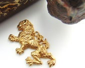 BRASS Rampant Dragon Lion Stamping - Jewelry Ornament Findings (FB-6055) #