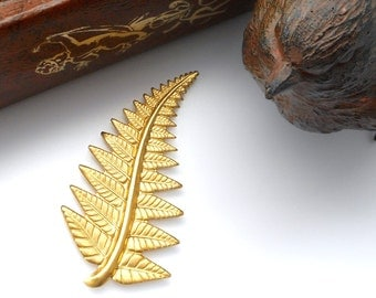BRASS Woodland FERN Leaf Brass Stampings - Jewelry Ornament Findings (FB-6035) #