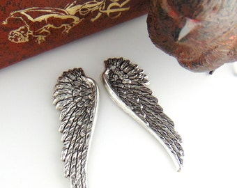SILVER (1 Pair) Angel Wings Stampings - Jewelry Ornament Antique Silver Findings (C-702) #