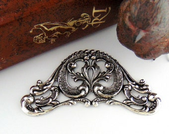 ANTIQUE SILVER * Victorian Scroll Cartouche Stamping ~ Jewelry Ornament Plaque Finding (C-904)