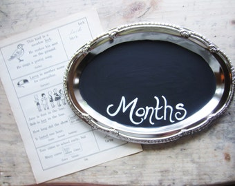 Baby Monthly Milestone Chalkboard Birthday Stats Sign Baby's First Year