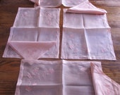 Vintage 1940's 16 Piece Pink Floral Organza Hand Embroidered Appliqued Set Of 8 Napkins And 8 Place Mats, Tea, Wedding