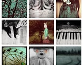 Disounted Set of Nine (9) Photographs, Dreamy, Black and White Photography, 9 Prints, Dark Art, Home Decor, Bedroom Decor, Halloween