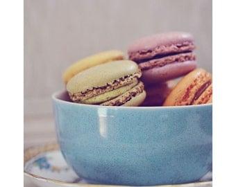 Kitchen Decor, Macaron Photograph, Food Photography, Vintage Colors, Still Life, Kitchen Art, Nursery Decor, Fine Art Print, Teacup