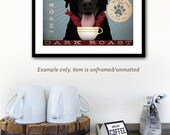 Black Dog Coffee black labrador original graphic illustration giclee archival print by stephen fowler Pick A Size