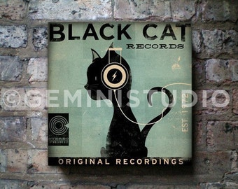 BLACK CAT records original graphic illustration art on gallery wrapped canvas by stephen fowler