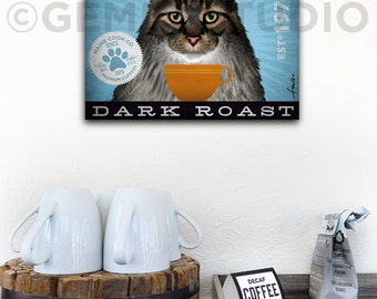 Maine Coon Cat Coffee Company graphic artwork on gallery wrapped canvas by stephen fowler