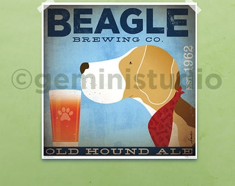 Beagle dog Brewing company illustration giclee signed artist's print by Stephen Fowler PIck A Size