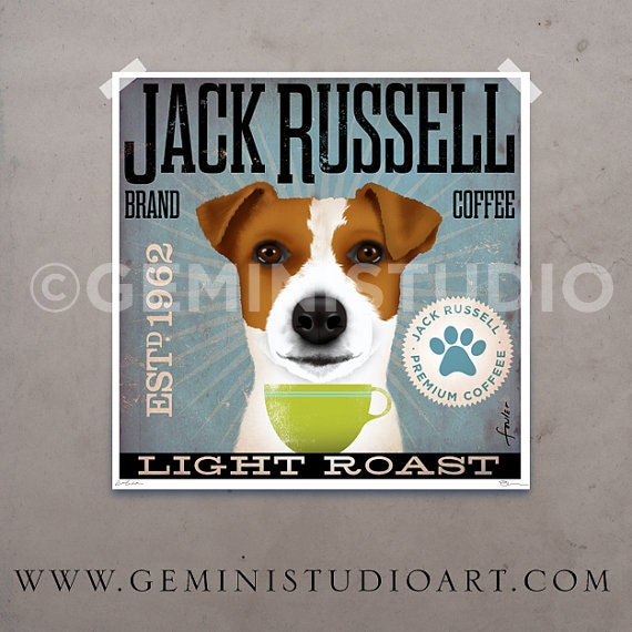 Jack Russell dog Coffee Company artwork graphic illustration signed artists print by Stephen Fowler Pick A Size