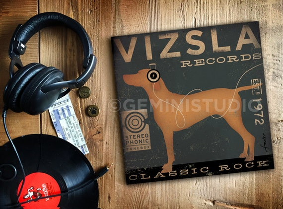 VIZSLA records dog album inspired vintage style dog artwork on gallery wrapped canvas by Stephen Fowler