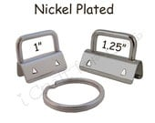 5 Key Fob Hardware with Key Rings Sets - 1 Inch or 1.25 Inch Nickel Plated Plus Instructions - SEE COUPON