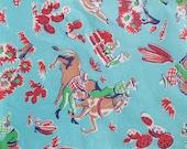 Novelty Fabric Quadriga Cloth 1940s Cowboys RARE 50s VINTAGE 1 yard x 36