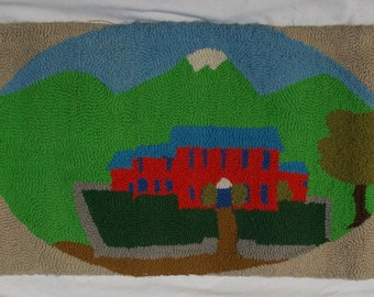 Hooked Wool Rug a Primitive Home Sweet Home Great colors and condition vintage