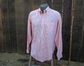 Peach stripe Brooks Brothers shirt 70s vintage Brooks button down cotton blend prep shirt  L