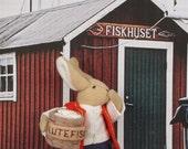 """Scandinavian Christmas Card """"Uffda!! Lutefisk!""""~Set of 4"""