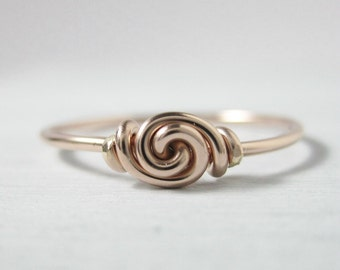 Promise Ring 14k ROSE Gold Filled Love Knot Ring Stackable Wire Wrapped Forget-Me-Knot Sweetheart Valentine's Ring