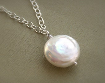Coin pearl necklace, freshwater coin pearl pendant, solid sterling silver chain