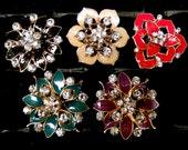 5 Jeweled Magnets. Enamel F aux