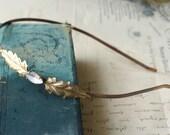 Vintage bridal headband crystal jewel golden brass 1920's style elegant wedding hair accessory