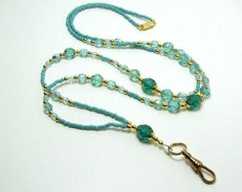 Lanyard Holder Breakaway Glass Beads Teal Turquoise Blue Beaded Badge Chain