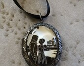 Sale 20% Off // PRIDE AND PREJUDICE Locket Necklace, pendant on ribbon - Elizabeth and Darcy - Silhouette Jewelry // Coupon Code SALE20