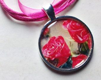 Pink Rose Pendant - Flower Pendant