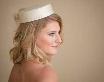 Pillbox Wedding Hat  Champagne Silk Dupioni - Ready to Ship