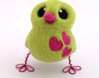Cirtrus Green Bird with Bright Pink Hearts Needle Felted Love Bird