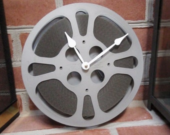 "16 mm Movie Reel Clock Repurposed and Upcycled Film Reel and Canister Wall Clock - 10"" Diameter"