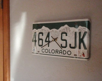 Vintage Colorado License Plate Clock - Recycled and Repurposed Wall Clock - Boulder - Telluride - FREE SHIPPING