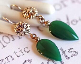 Green Jade Sterling Silver Earrings, Long Boho Dangle Jade Earrings,  Handmade Genuine Jade Designer Jewelry