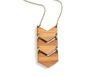 Geometric Bamboo Wood Triple Chevron Necklace